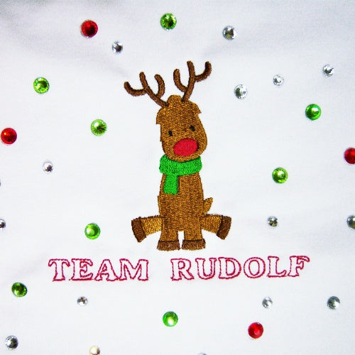 Team Rudolf Rhinestone Dog Shirt - Small to Large Dogs - dog-collar-fancy