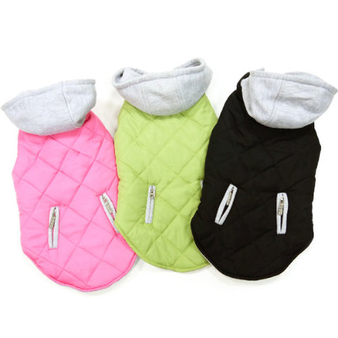 Warm Puffer Dog Coat with removable hood