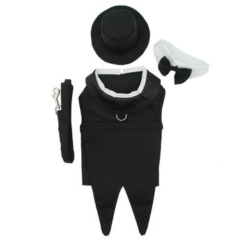 Formal dog tuxedo with collar, hat and matching leash