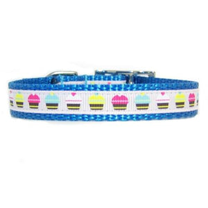 Adorable multi colored cupcakes printed pet collar for dogs and cats.