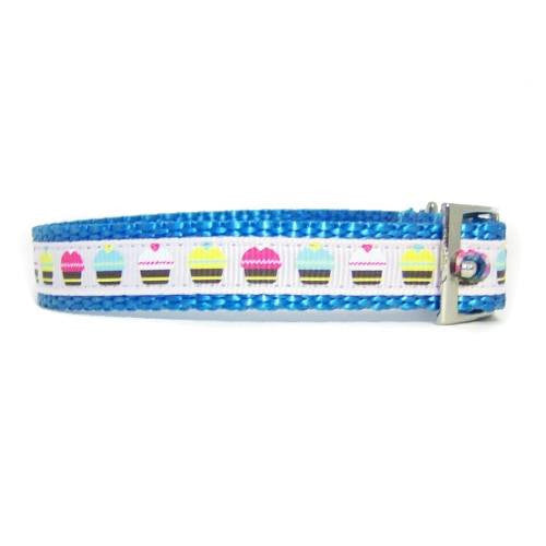 Multi colored cupcakes pet collar side view