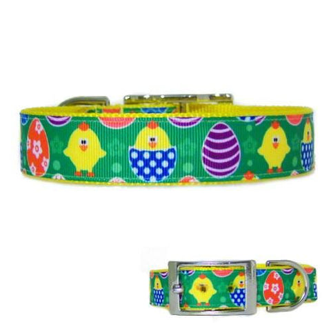 This colorful eggs and chicks printed Easter pet collar is made for dogs and cats.