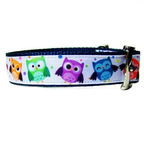 Happy Owls dog collar side view.