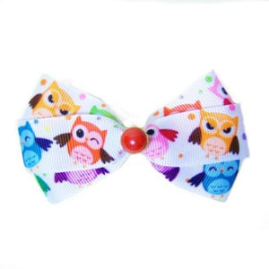 Happy Owls Printed Dog Hair Bow - Medium to Large Bow - dog-collar-fancy