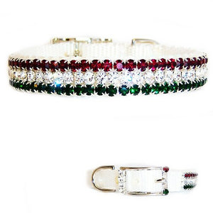 Beautiful sparkly Christmas pet collar in red, clear and emerald crystals.