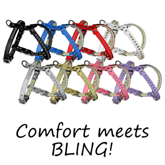 comfort dog harnesses with rhinestone bling