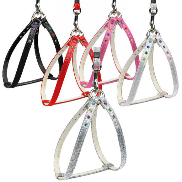 Step in dog harness with rhinestones in multi colors