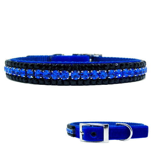 Cool Dude boy dog crystal pet collar in blue and black