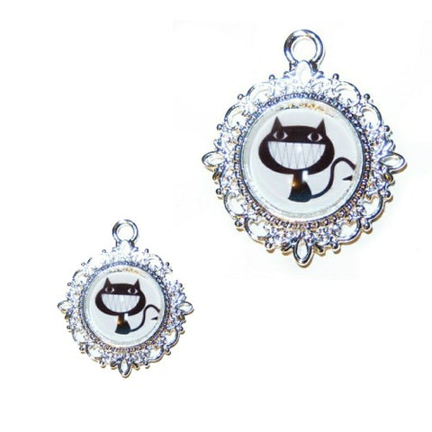 Crazy smiling cat Halloween pet collar charm.