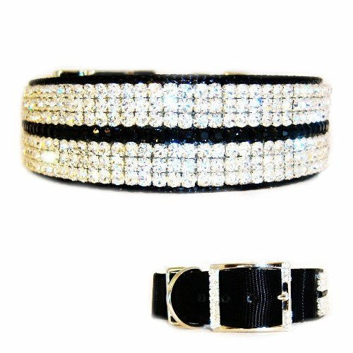 Crystal Midnight Diamonds Dog Collar - For medium to large dogs - dog-collar-fancy