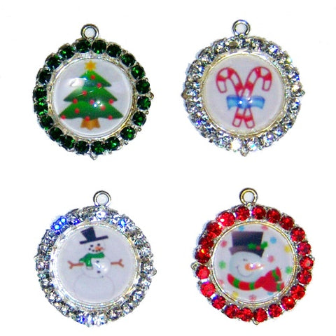 Pretty Christmas pet collar charms with crystals with your choice of images.