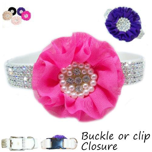 Custom Fancy Crystal Dog Collar with Flower