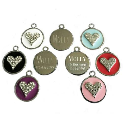 Personalized pet tag crystal heart with up to 3 lines of text.