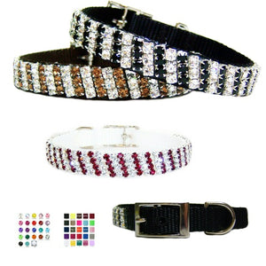 Fancy crystal stripes decorates this beautiful pet collar.