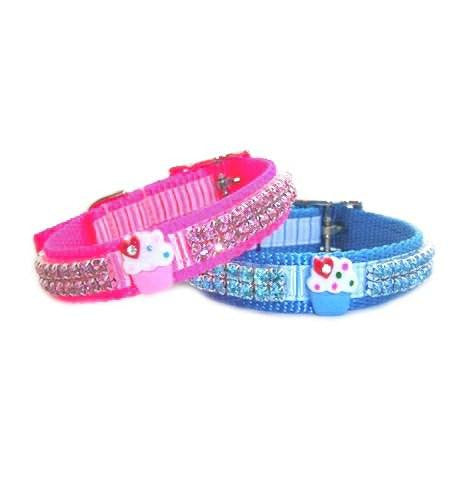 Cupcake Cutie Crystal Jeweled Dog Collar - For dogs and cats - dog-collar-fancy