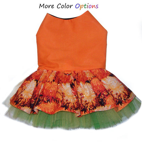 Custom dog dress for autumn, Thanksgiving, Halloween and all of harvest season
