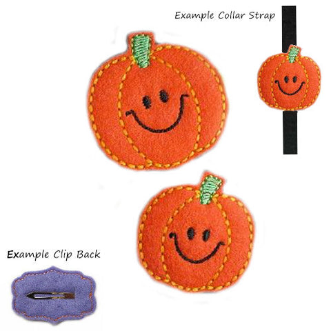 Smiling Pumpkin dog hair clip or collar accessory for Halloween.