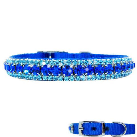 Boy dog crystal collar in sapphire and aquamarine crystals