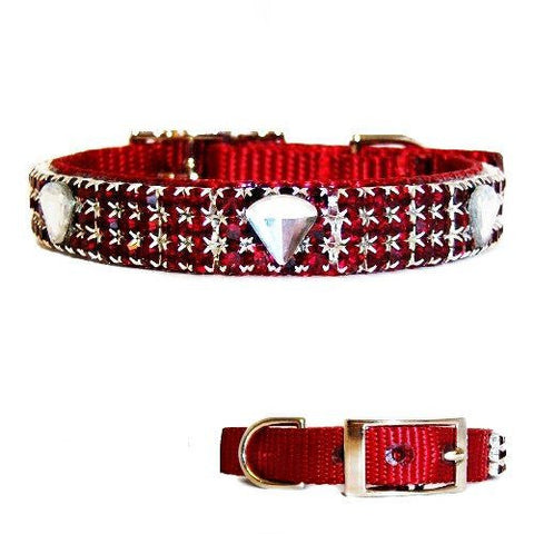 This ruby red pet collar with ruby red crystals is unique with diamond shaped rhinestone embellishments.