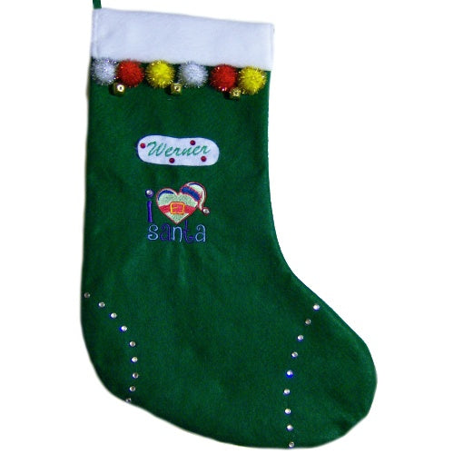 Christmas pet stocking - I love Santa with bling.