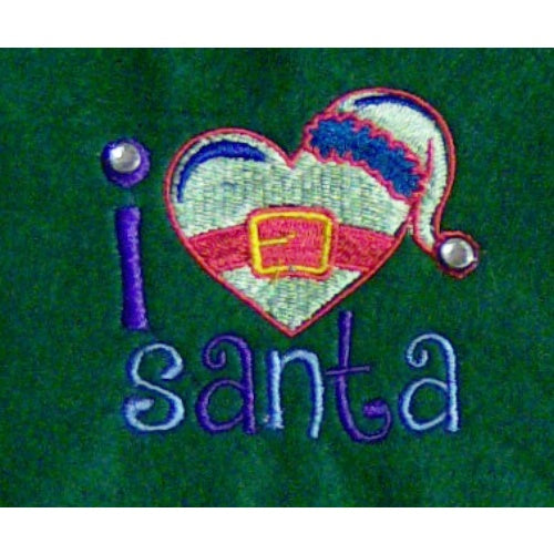 I love Santa personalized pet stocking close up.