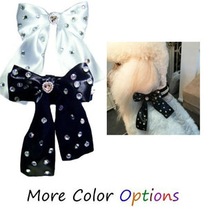 Dog Collar Accessory - Satin Bow with Crystals - dog-collar-fancy