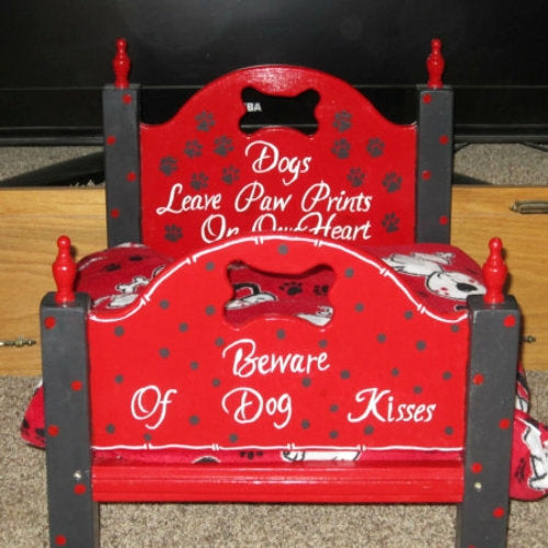 Dog Kisses handmade wood dog bed in red