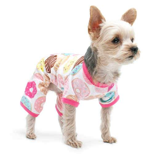 Yummy Doughnuts Dog Pajamas in a colorful doughnuts print