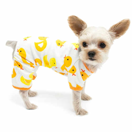 Yellow Duckies Dog Pajamas dog model