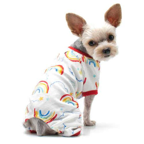 Colorful Rainbows Dog Pajamas model dog