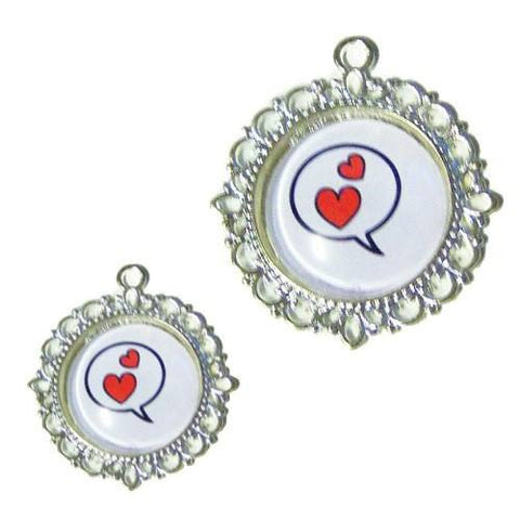 A cute double heart charm in a silver setting for dogs and cats.