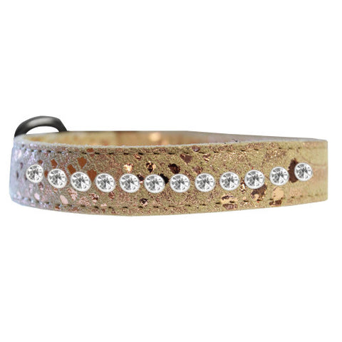 Dragon pet collar in gold with 2 rows of crystals