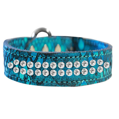 2 row Dragon Pet Collar in blue