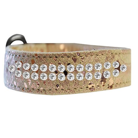 2 row Dragon Pet Collar in a metallic gold