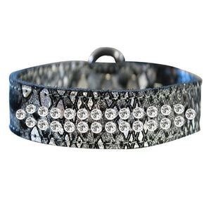 2 rows of crystals Dragon Pet Collar in silver