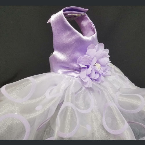 Dreamy Lilac dog dress side view.