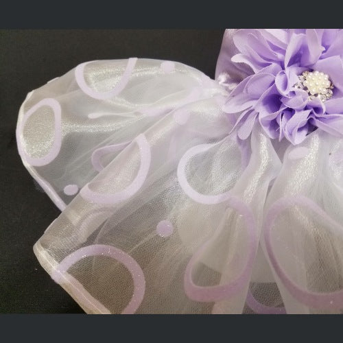 Dreamy Lilac dog dress in a tutu style with violet flower and rhinestone.