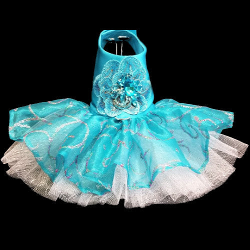 Turquoise and Rainbow Swirls Dog Dress that really sparkles