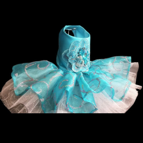 Turquoise and Rainbow Swirls Dog Dress side view
