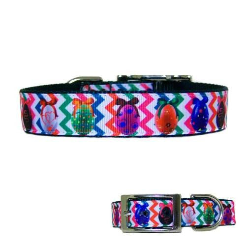 A bright Easter pet collar for Easter dogs and cats with eggs and bows print.