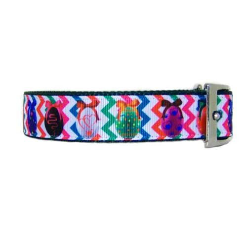 Bright Easter eggs pet collar side view.