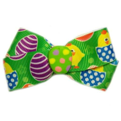 This cute Easter dog hair bow is printed with Easter eggs, chicks and has an Egg in the center.