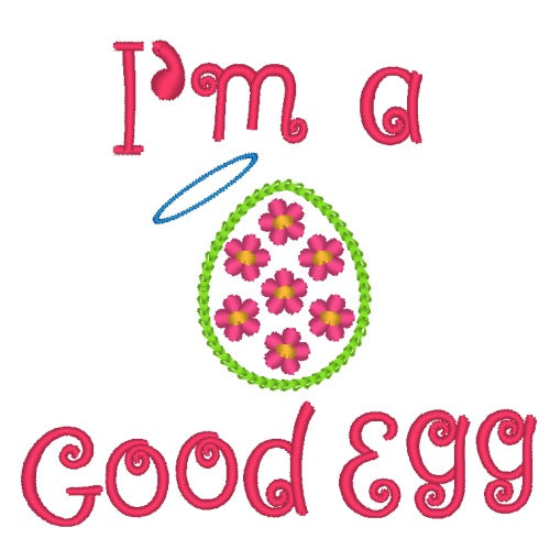 Dog shirt for Easter embroidered with egg and text: I'm a good egg.
