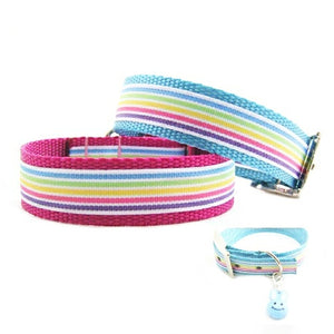 Easter Stripes Dog Collar with Free Bunny Charm!