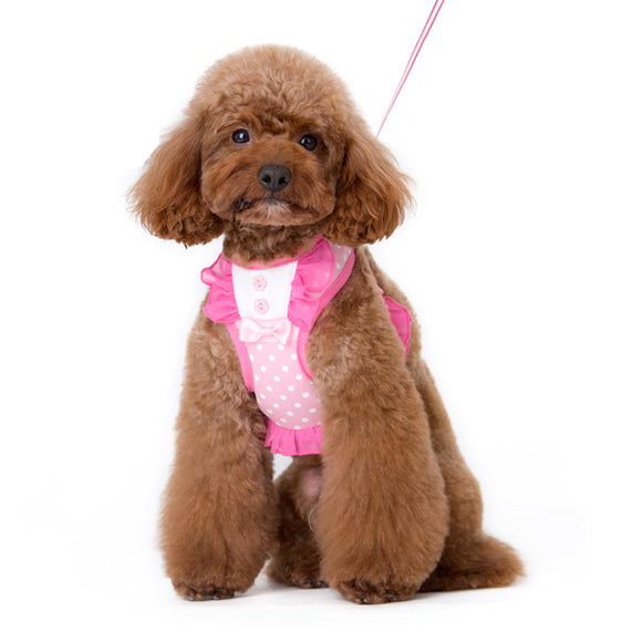 Cute hot pink ruffle harness in polka dots with pink bow