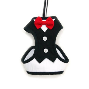 Formal Tuxedo Dog Harness with Bow Tie for small to large dogs
