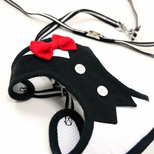 Formal Tuxedo Dog Harness with Bow Tie example