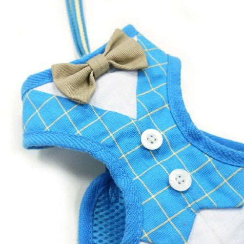 Blue and white plaid pet harness with bow tie.