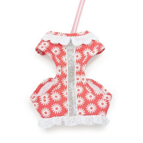 EasyGo dog harness in floral print with pet safe rhinestones.