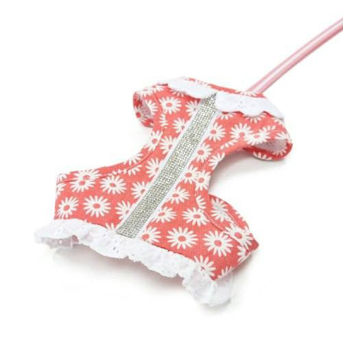 Floral print dog harness with rhinestones.